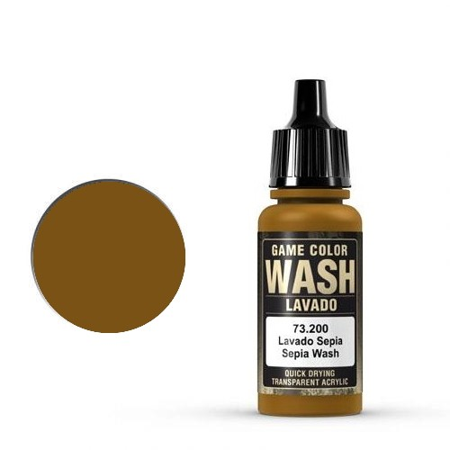 Vallejo Game Color Ink: 200 Wash Sepia Shade, 17 ml