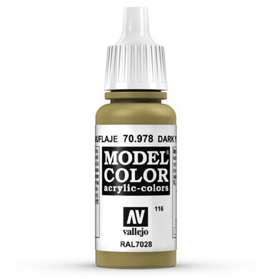 Vallejo Model Color: 116 Currygelb (Dark Yellow), 17 ml (978)