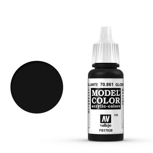 Vallejo Model Color: 170 Tiefschwarz(Lack), 17 ml (Glossy Black), 17 ml (861)