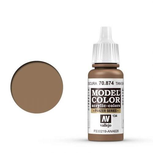 Vallejo Model Color: 134 Dunkel Erdbraun (USA tan-Earth), 17 ml (874)
