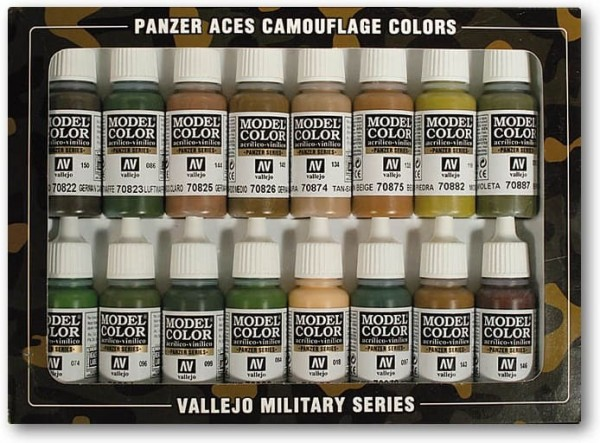 Vallejo Model Color: Panzer Aces Set (16 Farben) (Camouflage for Patterns)