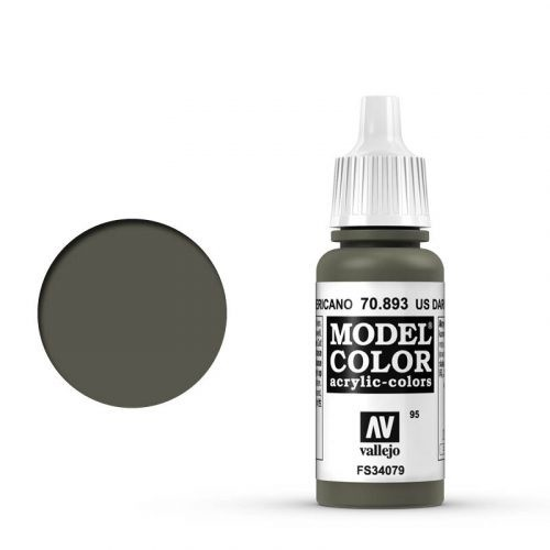 Vallejo Model Color: 095 Dunkelgrün USA (US Dark Green), 17 ml (893)
