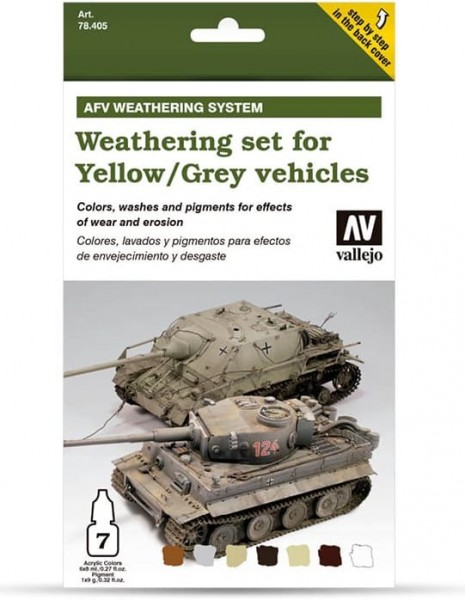 Vallejo Model Color: Model Air Set AFV Weathering for Grey and Yellow Vehicles