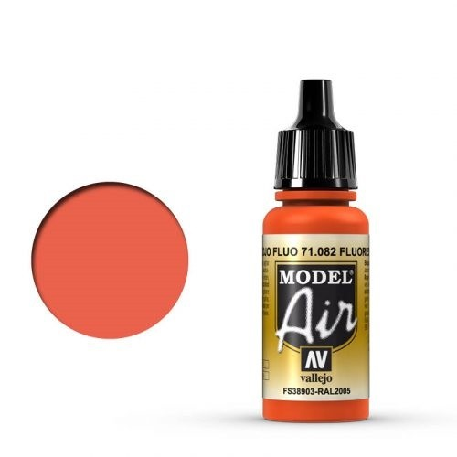 Vallejo Model Air: 082 Fluorescent Red, 17 ml
