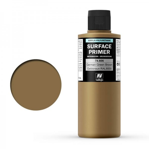 Vallejo Surface Primer German Green Brown (RAL8000) (200ml)