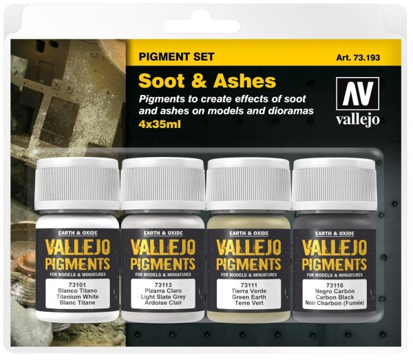 """Vallejo Pigment Set """"Soot & Ashes"""" (4)"""